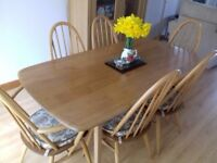 Vintage light elm wood Ercol Dining Table and 6 chairs