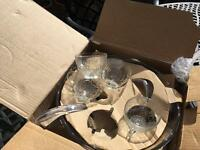 Large party glass punch bowl set with hooks & ladle boxed BURWELL