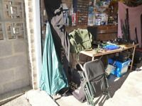 Coarse fishing tackle, rods, reels, pole, nets, floats, hooks, chair, umbrella, carryall, and more.