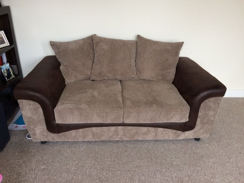 L Shaped Sofa And 2 Seater Brown