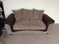 L shaped sofa and 2 seater sofa brown