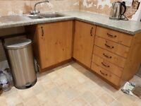 Pre-owned Pine Effect Kitchen Units, Worktops and Sink with Mixer Tap