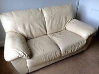 Genuine Leather 2 Seater Sofa - cream FREE to a good home