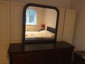 2 x Mahogany Bedside unit, chested draw and mirror