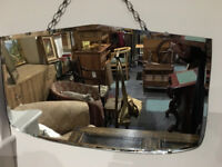 Charming Vintage 1930's Art Deco Frameless Bevelled Edge Wall Mirror