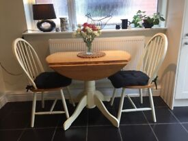 Drop leaf, Pine and Cream Painted Breakfast Table with two Chairs
