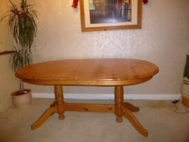 Solid Pine Oval Dining Table, Seats 4-8