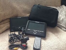Portable DVD players set of 2 in a carry case with Velcro attachments for in car use