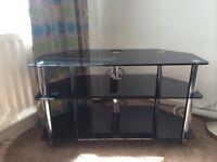 Black glass and chrome corner TV unit