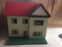 Old Wooden Dolls House , Red Roof, 4 Rooms Hall and Landing