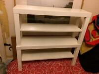 White tv bench coffee tables pair