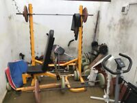 Weight bench, weights, belts, gloves for sale bargain at £100. Also treadmill £50+exercise bike £30