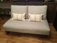 Stunning Solid Oak frame 2 seater Loop sofa bed by Futon Company - Pristine condition!