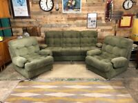 Retro 3 Piece Suite Including Two Chairs and a Sofa in Green, 1970s