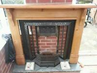 Antique Iron Fireplace with Hearth and Mantle