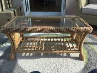 Lovely cane and glass top table for sale and collection