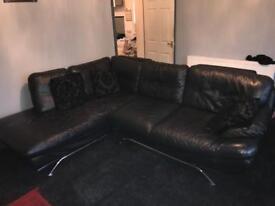 Large black Leather L shape corner sofa