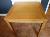 Small dining table square oak effect 75 cm seats 2 or 4 people in VGC Sittingbourne, Kent