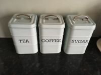 Tea,coffee,sugar canisters, light green in colour