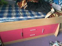 Beautiful pink/purple 4 piece girls bedroom furniture set
