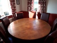 Solid Oak Large Round Dining Table and 8 Chairs