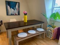 Wooden dining table (chairs & bench optional)