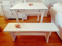 Beautiful Shabby Chic dining table and bench set