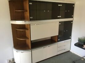 Modern display cabinet wirh glass fronted cupboards.