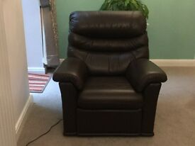 G Plan Malvern sofa + 2 power recliners in brown leather