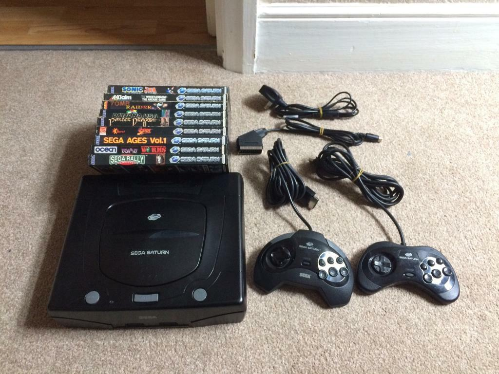 Sega Saturn console, 9 games, 2 controllers, RGB scart