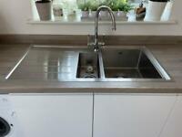 Aluminium kitchen sink with Taps.