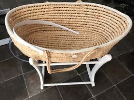 Moses basket crib with rocker stand