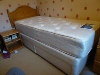 Silentnight Miracoil single bed with drawers, headboard and bedside table included