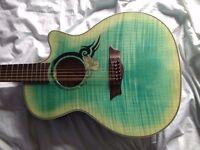 Dean Guitars EFM RSE FD Exotica FM Tribal Rose Faded Denim 12 string Electric Acoustic + Hard Case!