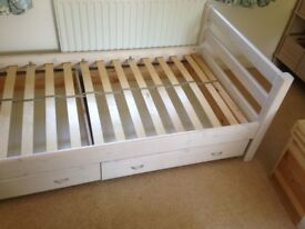 Flexa bed (full size single) plus wardrobe, drawers, bookcase, open shelf and bedside chest
