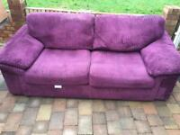Purple 3 seater fabric sofa in very good condition