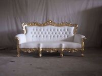 BRAND NEW 4 Piece Suite Venice Chaise Gold Leaf Rococo Antique Gothic Baroque French Wedding