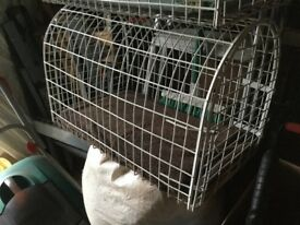 Pet transporting cage, white powder coated