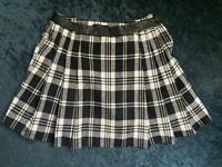 Black and white tartan skirt size 10