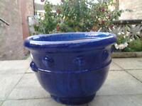 Large Blue glazed outdoor planter