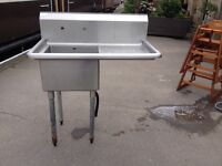Catering sink, good condition £40, Taps £20, boxed tap £25
