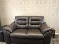 Leather 2 seat sofa from DFS. Brown high quality leather
