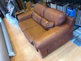 (Sold)Brown leather sofa - Eurosalotti spa