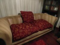 3 seater sofa, cream and red, needs some cushions on back
