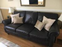 'Edition' dark brown all leather sofa and armchair