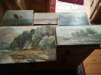 Collection of old antique paintings