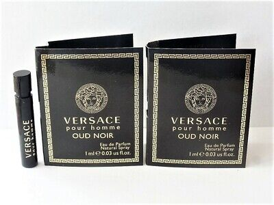 2 Versace OUD NOIR Pour Homme EDP Spray Sample Vials .03 oz Each Mens NEW