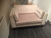 SOFA two seater in cream velour. Excellent condition £50. Fairlie 07710829530 or 07876 526402