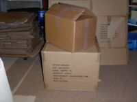 Strong cardboard boxes. 41 smaller, 18 larger