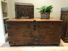 Large Antiqued Indian Storage Chest